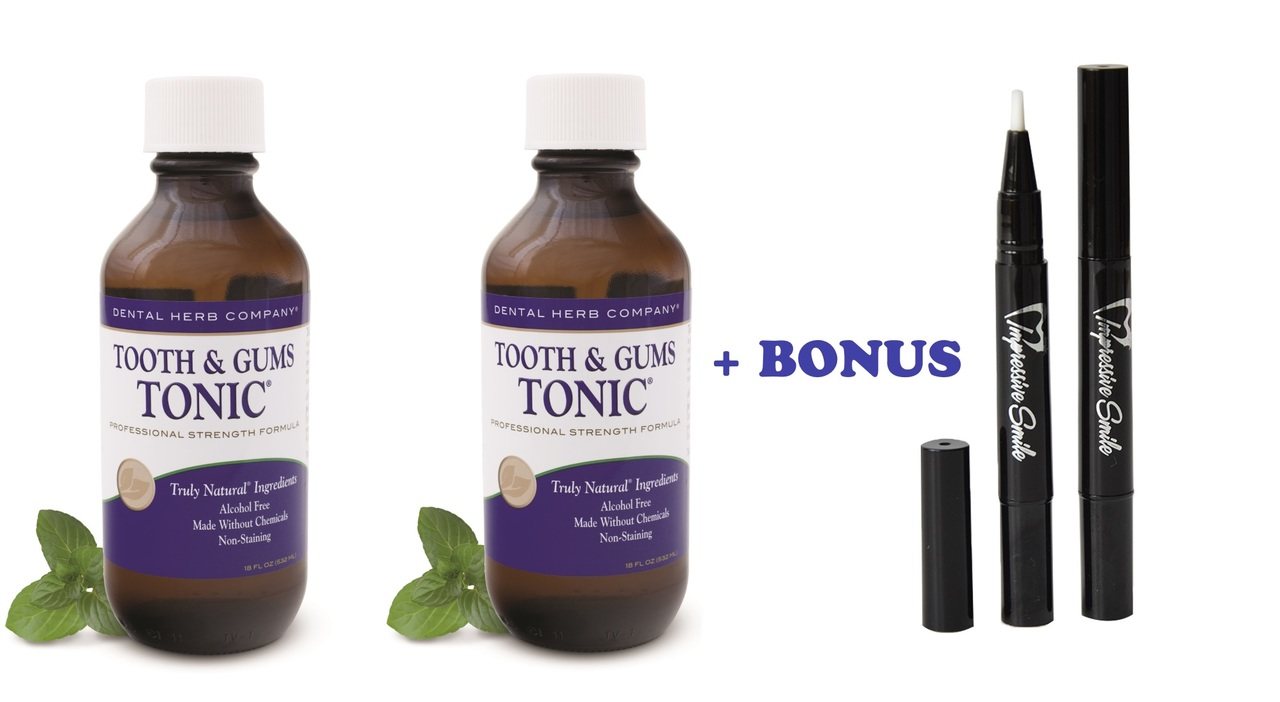 Image of Tooth and Gums Tonic 18 OZ. Pack of 2 Bottles + 2 Teeth Whitening Pens