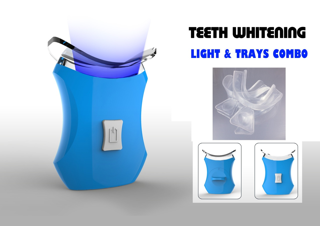 Image of Teeth Whitening Accelerator Light, 6 X More Powerful with 2 Trays- VALUE PACK-Blue