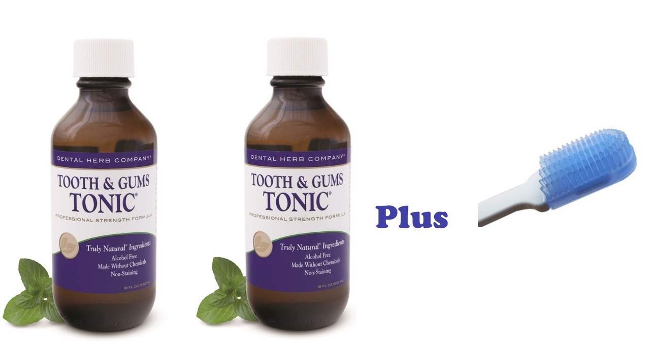 Image of Tooth and Gums Tonic 18 OZ. Pack of 2 Bottles + Dr. Tung Compact Gumbrush