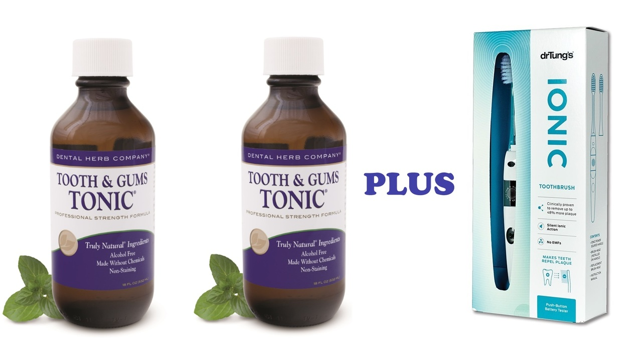 Image of Tooth and Gums Tonic 18 Oz. Pack of 2 Bottles + Dr. Tung Ionic Toothbrush